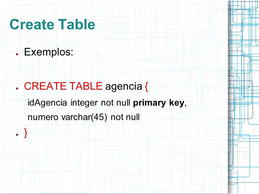 Create Table Exemplos: CREATE TABLE agencia { }