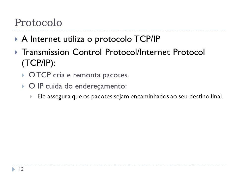 Protocolo A Internet utiliza o protocolo TCP/IP