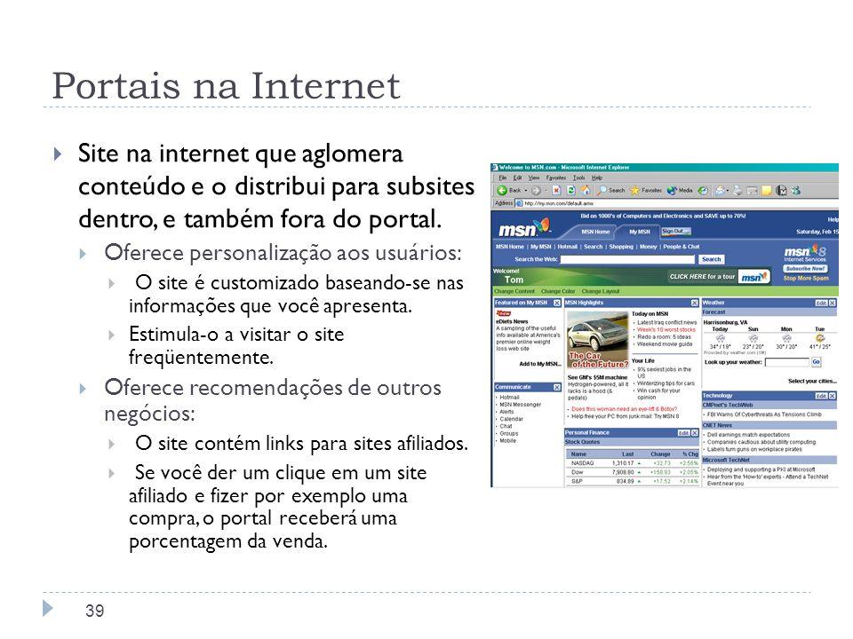 Portais na Internet Site na internet que aglomera conteúdo e o distribui para subsites dentro, e também fora do portal.