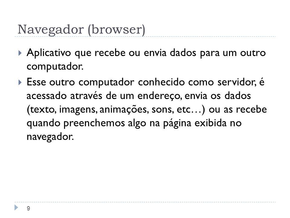 Navegador (browser) Aplicativo que recebe ou envia dados para um outro computador.