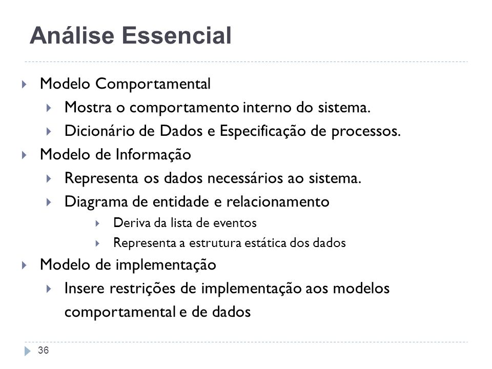 Análise Essencial Modelo Comportamental