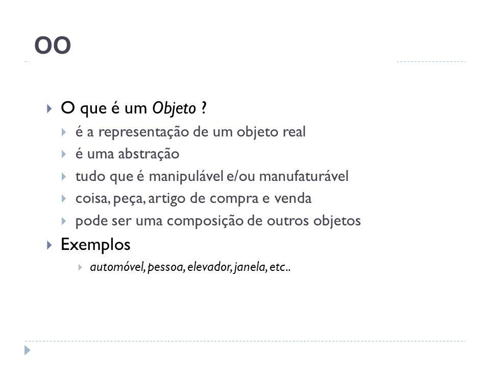OO O que é um Objeto Exemplos é a representação de um objeto real