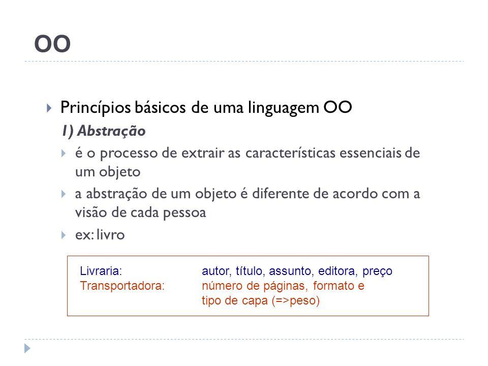 OO Princípios básicos de uma linguagem OO 1) Abstração