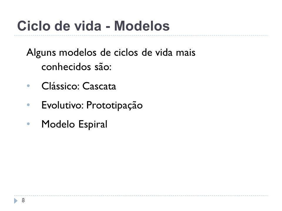 Ciclo de vida - Modelos Alguns modelos de ciclos de vida mais conhecidos são: Clássico: Cascata.