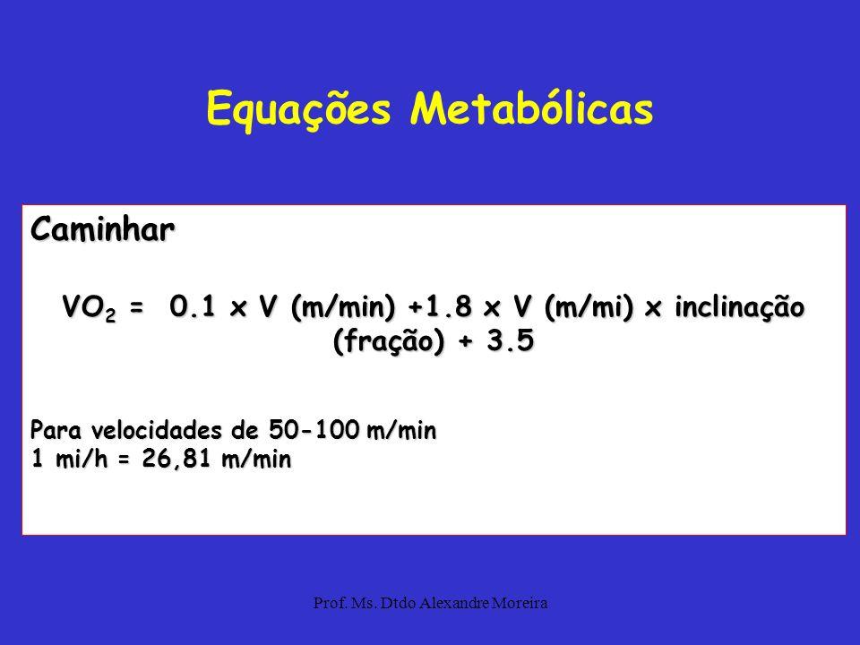 VO2 = 0.1 x V (m/min) +1.8 x V (m/mi) x inclinação (fração) + 3.5