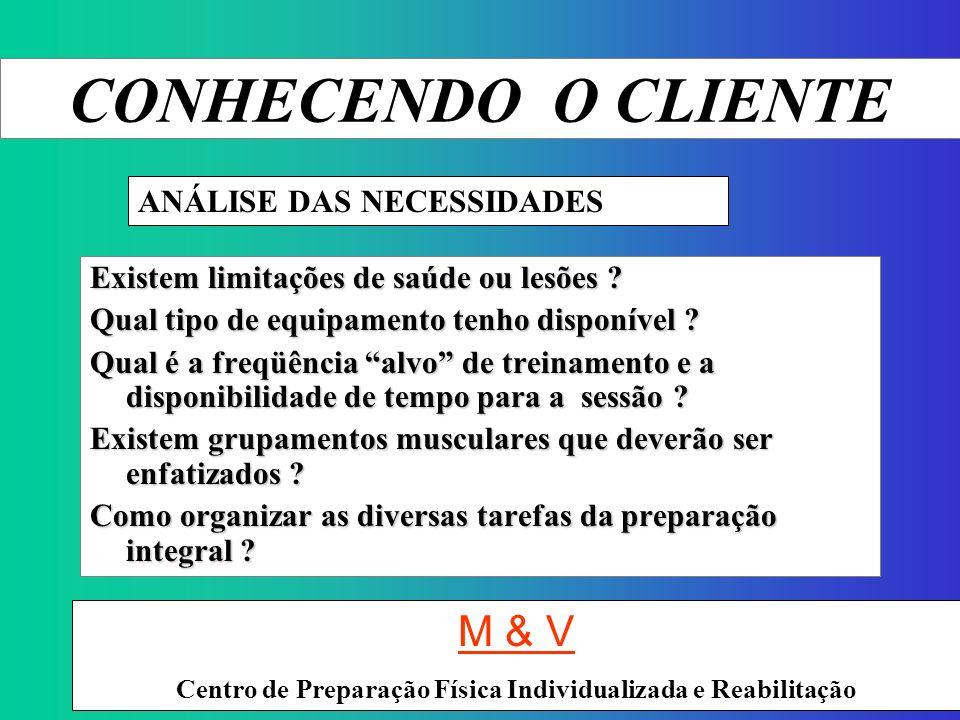 CONHECENDO O CLIENTE M & V ANÁLISE DAS NECESSIDADES