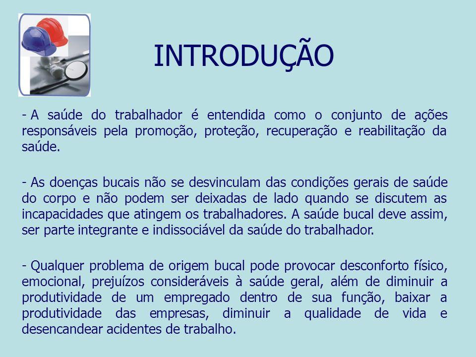 INTRODUÇÃO A saúde do trabalhador é entendida como o conjunto de ações responsáveis pela promoção, proteção, recuperação e reabilitação da saúde.