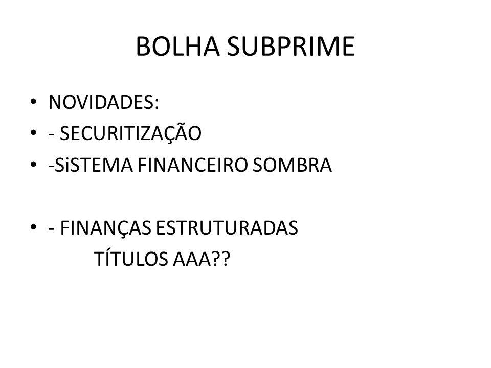 BOLHA SUBPRIME NOVIDADES: - SECURITIZAÇÃO -SiSTEMA FINANCEIRO SOMBRA