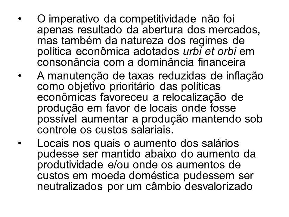 O imperativo da competitividade não foi apenas resultado da abertura dos mercados, mas também da natureza dos regimes de política econômica adotados urbi et orbi em consonância com a dominância financeira