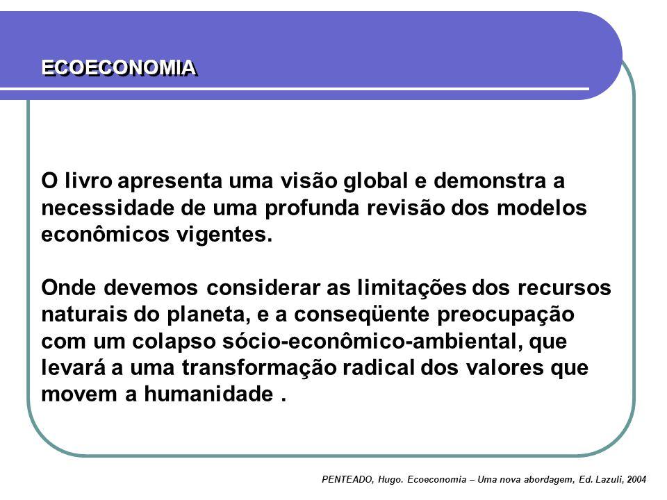 ECOECONOMIA O livro apresenta uma visão global e demonstra a necessidade de uma profunda revisão dos modelos econômicos vigentes.