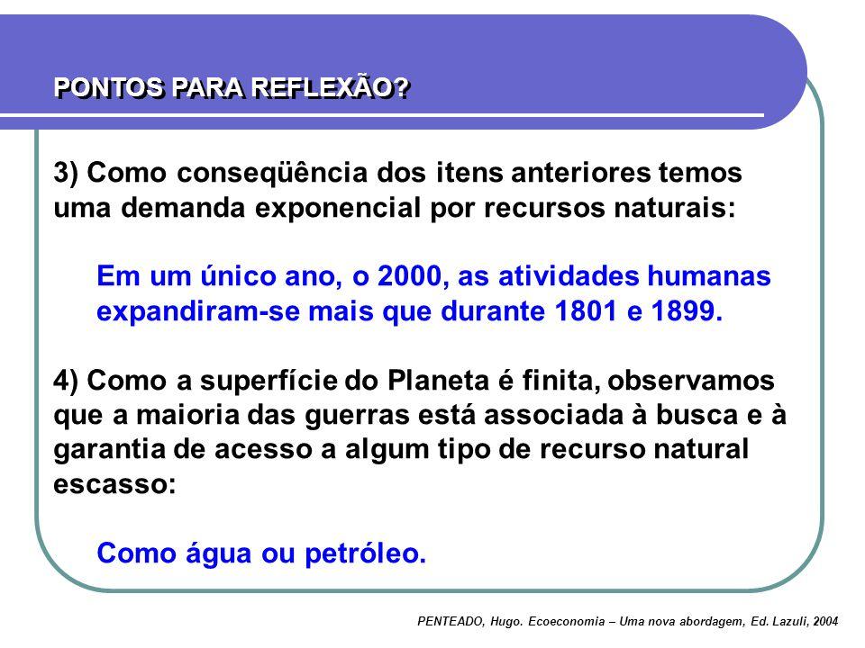 PONTOS PARA REFLEXÃO 3) Como conseqüência dos itens anteriores temos uma demanda exponencial por recursos naturais: