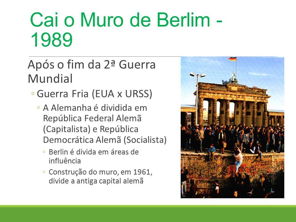 Cai o Muro de Berlim - 1989 Após o fim da 2ª Guerra Mundial
