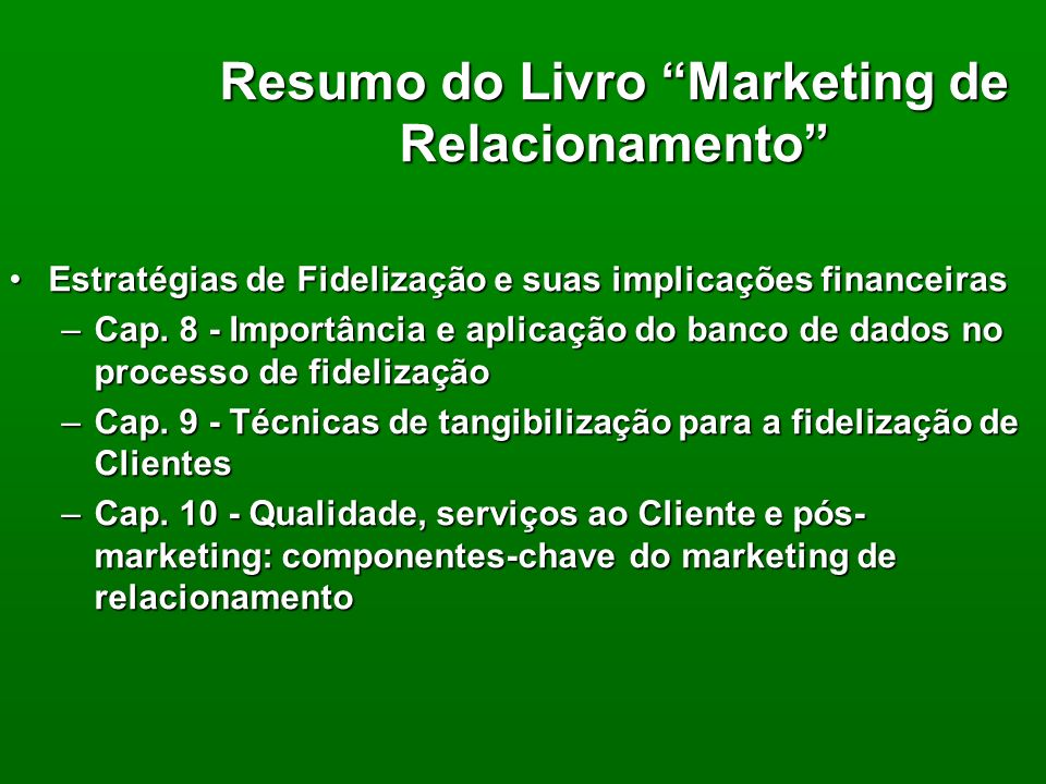 Resumo do Livro Marketing de Relacionamento