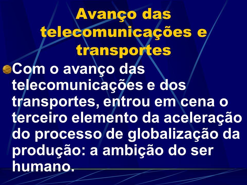 Avanço das telecomunicações e transportes