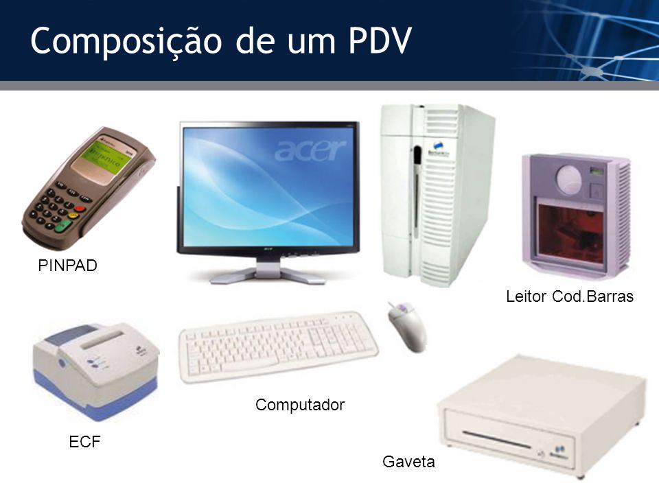 Composição de um PDV Computador PINPAD Leitor Cod.Barras ECF Gaveta