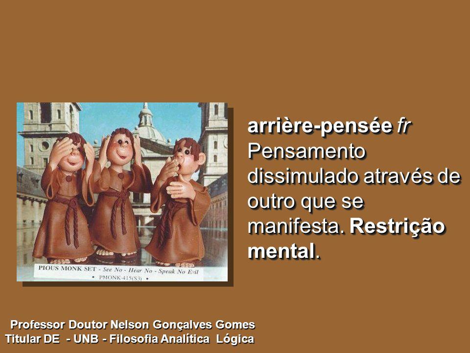 arrière-pensée fr Pensamento dissimulado através de outro que se manifesta. Restrição mental.