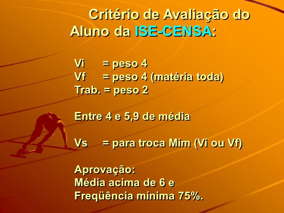 Critério de Avaliação do Aluno da ISE-CENSA: