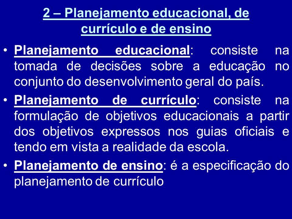 2 – Planejamento educacional, de currículo e de ensino
