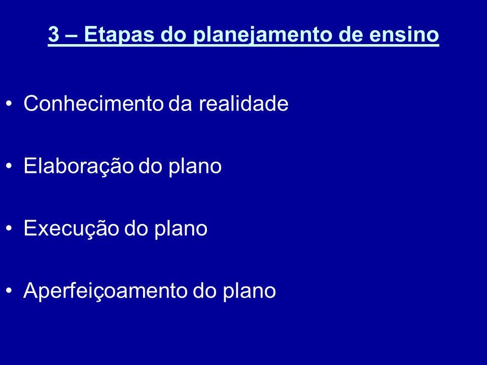 3 – Etapas do planejamento de ensino