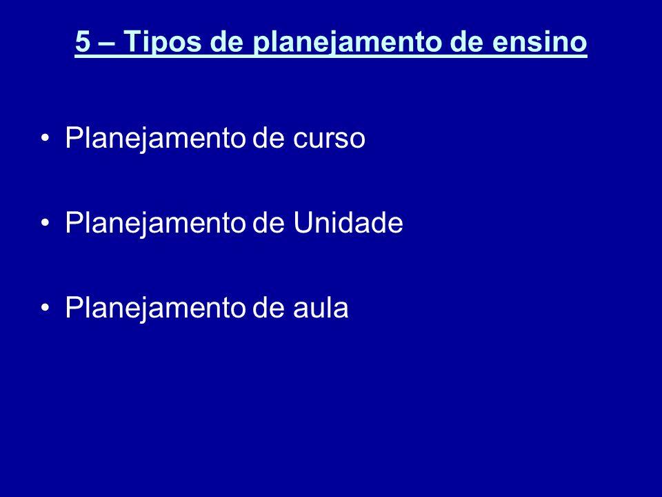 5 – Tipos de planejamento de ensino