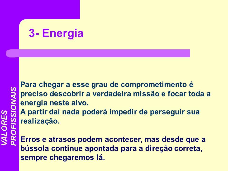 3- EnergiaPara chegar a esse grau de comprometimento é preciso descobrir a verdadeira missão e focar toda a energia neste alvo.