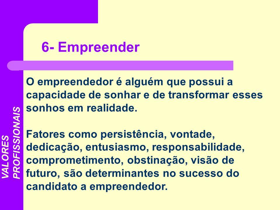 6- EmpreenderO empreendedor é alguém que possui a capacidade de sonhar e de transformar esses sonhos em realidade.