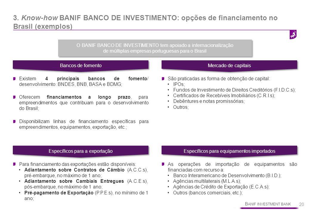Bancos de fomento Mercado de capitais. 3. Know-how BANIF BANCO DE INVESTIMENTO: opções de financiamento no Brasil (exemplos)