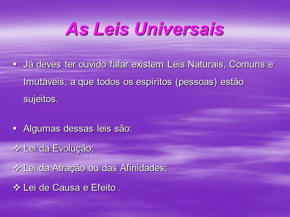 As Leis Universais Já deves ter ouvido falar existem Leis Naturais, Comuns e Imutáveis, a que todos os espíritos (pessoas) estão sujeitos.