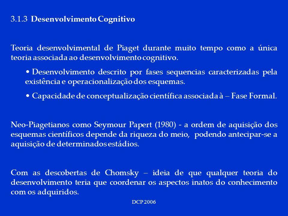 3.1.3 Desenvolvimento Cognitivo