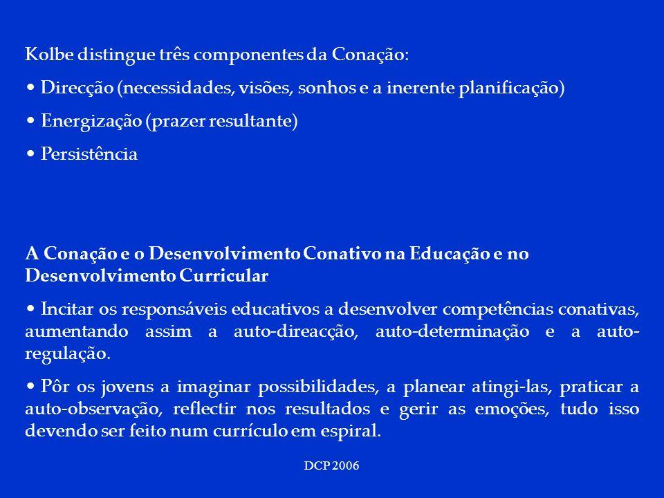 Kolbe distingue três componentes da Conação: