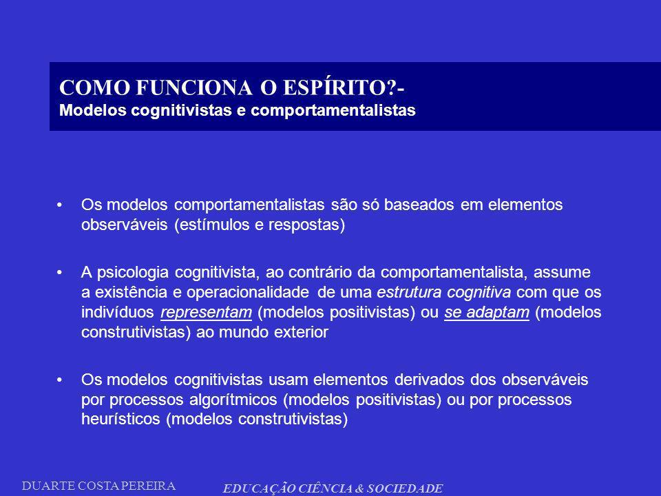 COMO FUNCIONA O ESPÍRITO - Modelos cognitivistas e comportamentalistas