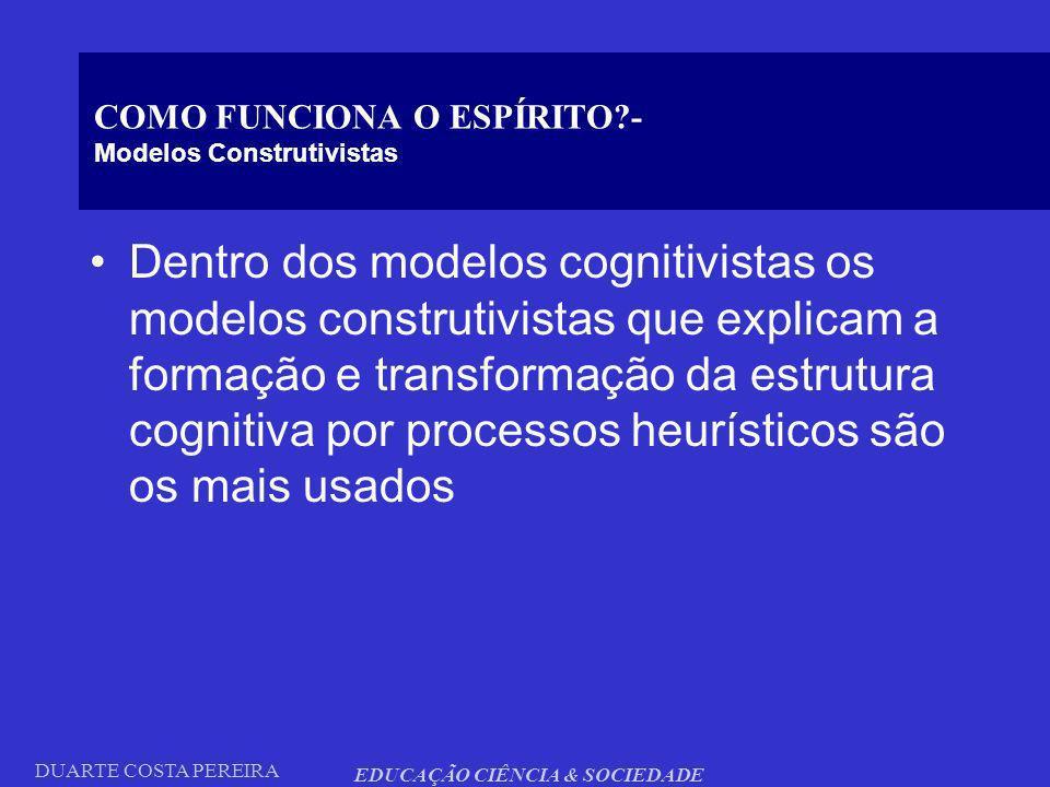 COMO FUNCIONA O ESPÍRITO - Modelos Construtivistas
