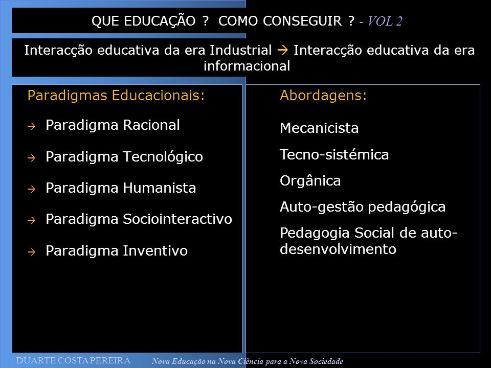 Nova Educação na Nova Ciência para a Nova Sociedade