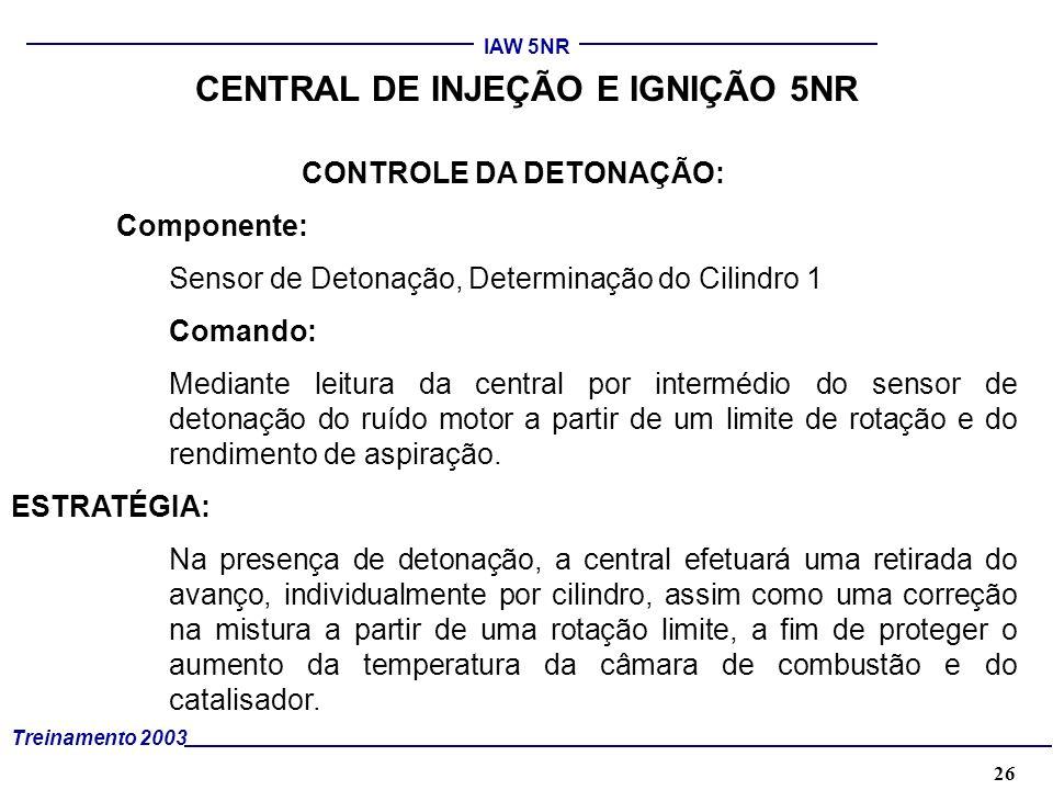 CENTRAL DE INJEÇÃO E IGNIÇÃO 5NR CONTROLE DA DETONAÇÃO: