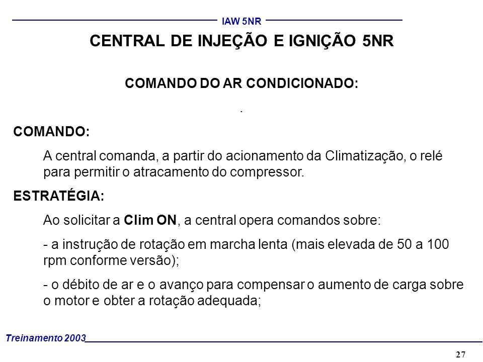 CENTRAL DE INJEÇÃO E IGNIÇÃO 5NR COMANDO DO AR CONDICIONADO: