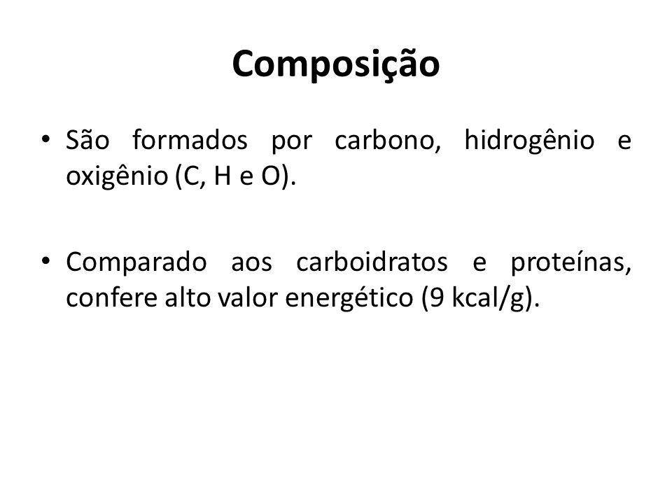 Composição São formados por carbono, hidrogênio e oxigênio (C, H e O).
