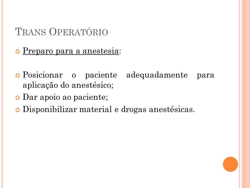 Trans Operatório Preparo para a anestesia: