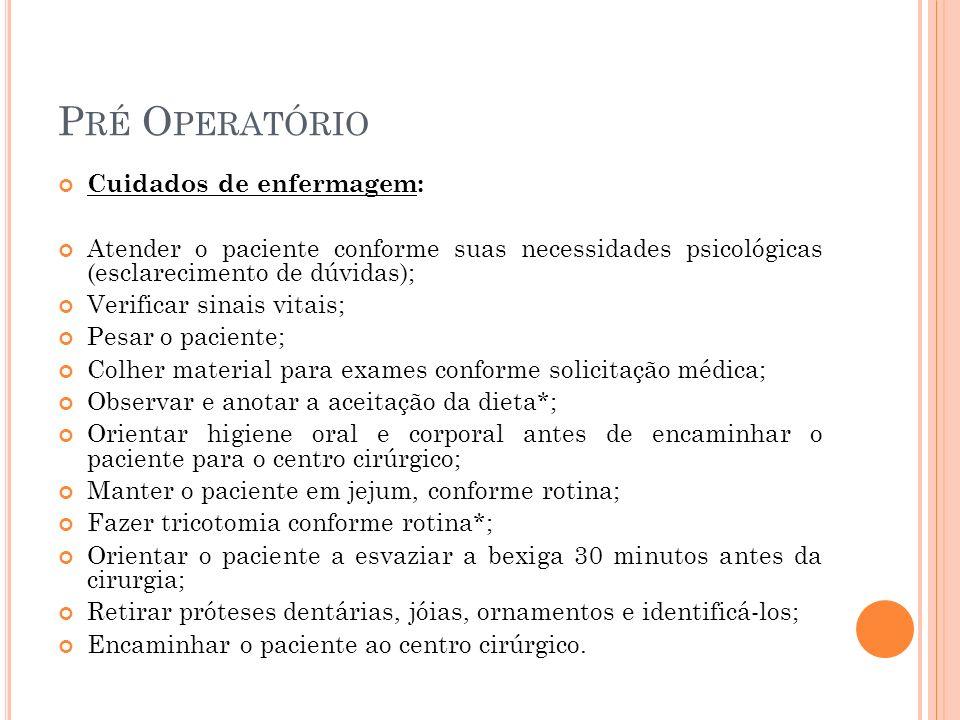 Pré Operatório Cuidados de enfermagem: