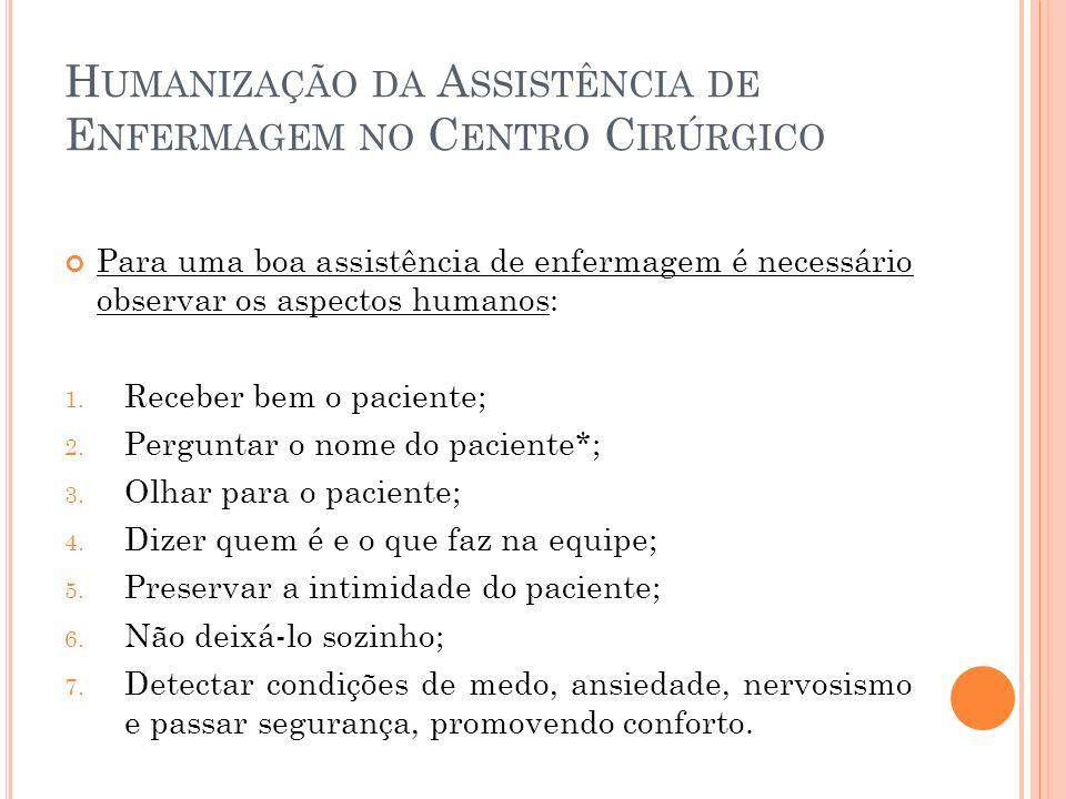 Humanização da Assistência de Enfermagem no Centro Cirúrgico