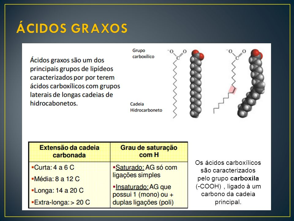 ÁCIDOS GRAXOS Os ácidos carboxílicos são caracterizados pelo grupo carboxila.