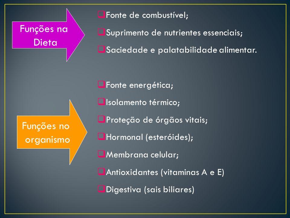 Funções na Dieta Funções no organismo Fonte de combustível;