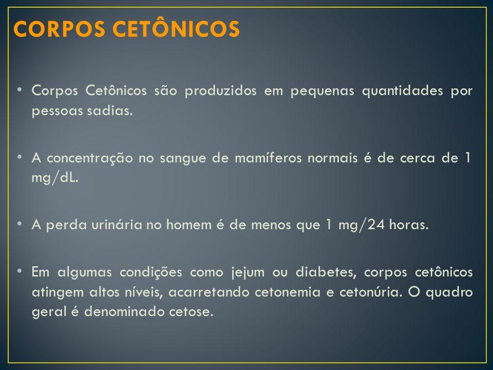 CORPOS CETÔNICOS Corpos Cetônicos são produzidos em pequenas quantidades por pessoas sadias.