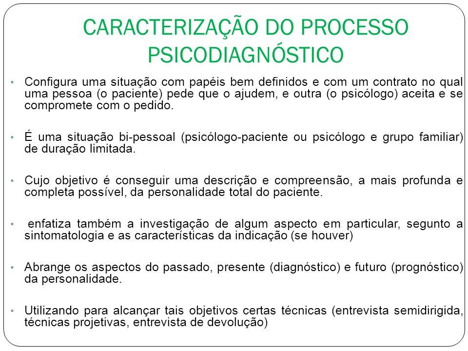 CARACTERIZAÇÃO DO PROCESSO PSICODIAGNÓSTICO