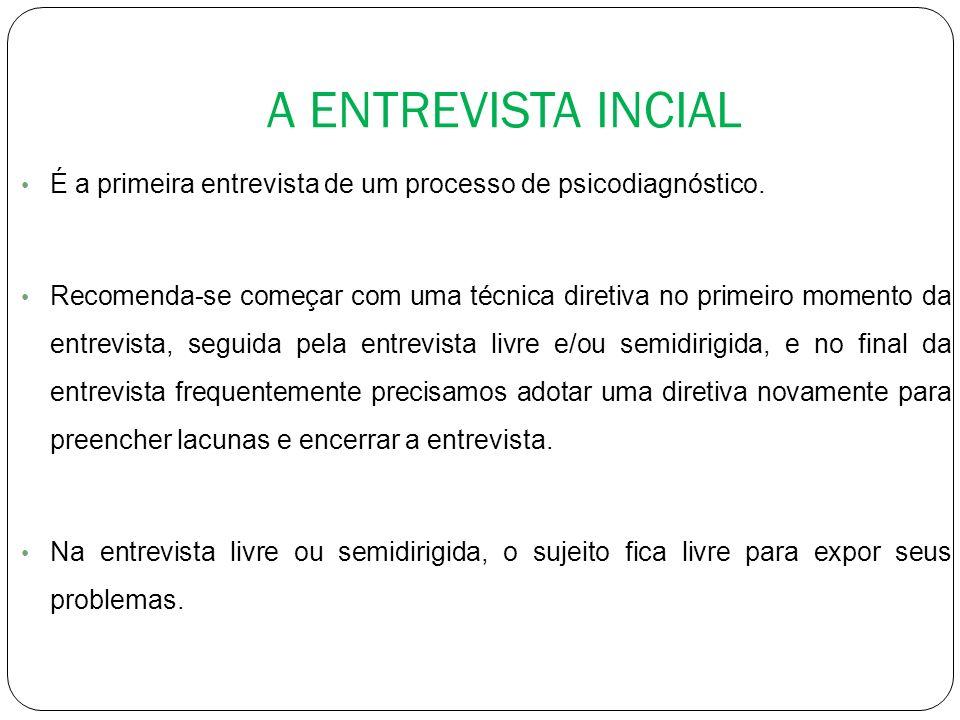 A ENTREVISTA INCIAL É a primeira entrevista de um processo de psicodiagnóstico.