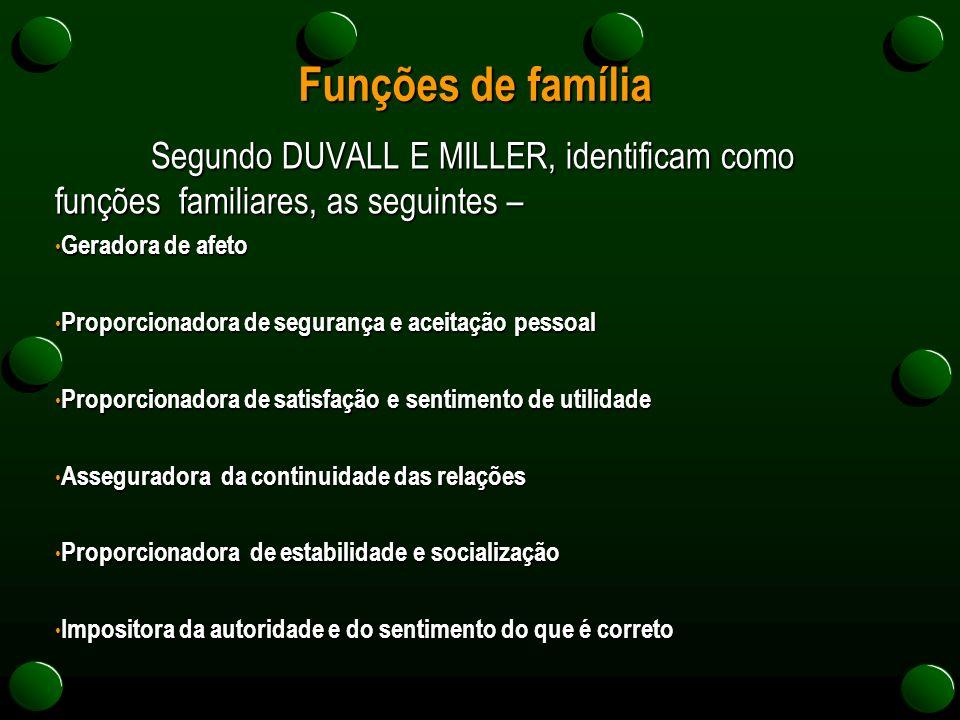 Funções de família Segundo DUVALL E MILLER, identificam como funções familiares, as seguintes – Geradora de afeto.