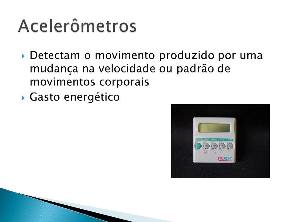 Acelerômetros Detectam o movimento produzido por uma mudança na velocidade ou padrão de movimentos corporais.