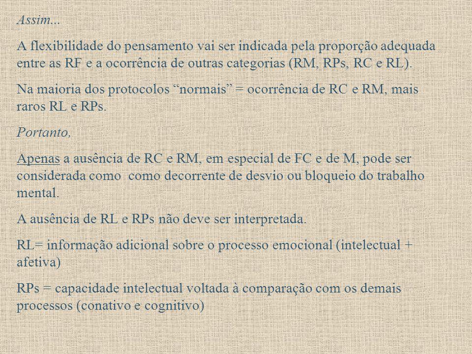 Assim... A flexibilidade do pensamento vai ser indicada pela proporção adequada entre as RF e a ocorrência de outras categorias (RM, RPs, RC e RL).