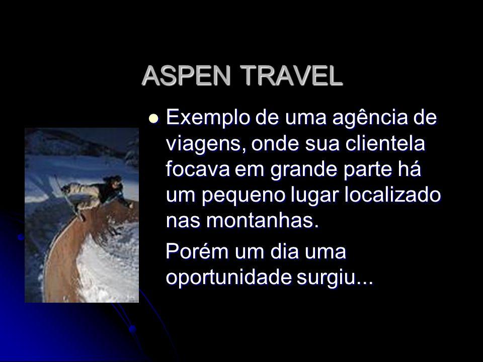 ASPEN TRAVEL Exemplo de uma agência de viagens, onde sua clientela focava em grande parte há um pequeno lugar localizado nas montanhas.