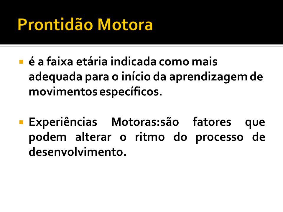 Prontidão Motora é a faixa etária indicada como mais adequada para o início da aprendizagem de movimentos específicos.