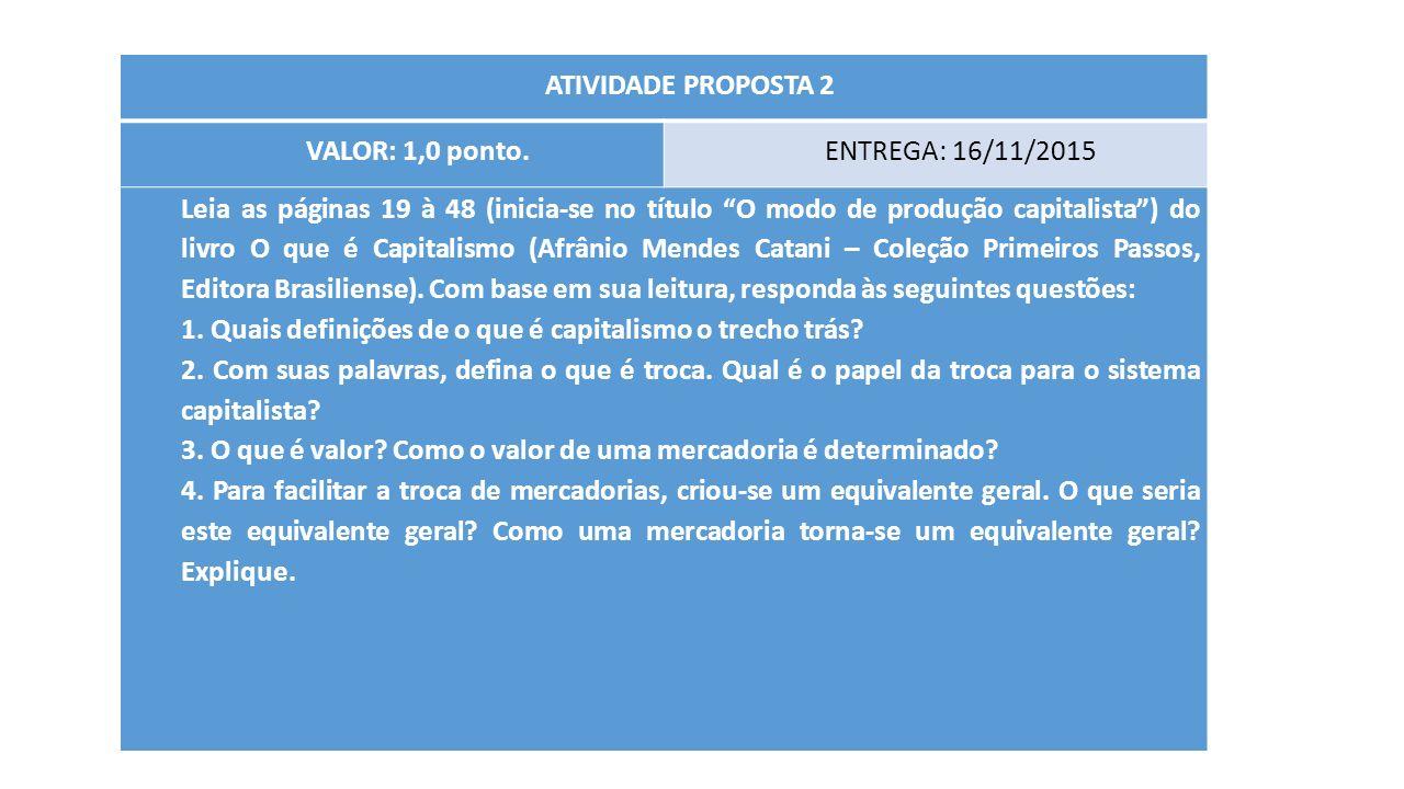 ATIVIDADE PROPOSTA 2 VALOR: 1,0 ponto. ENTREGA: 16/11/2015.